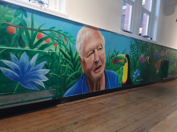 Sir David Attenborough mural by Paul Curtis