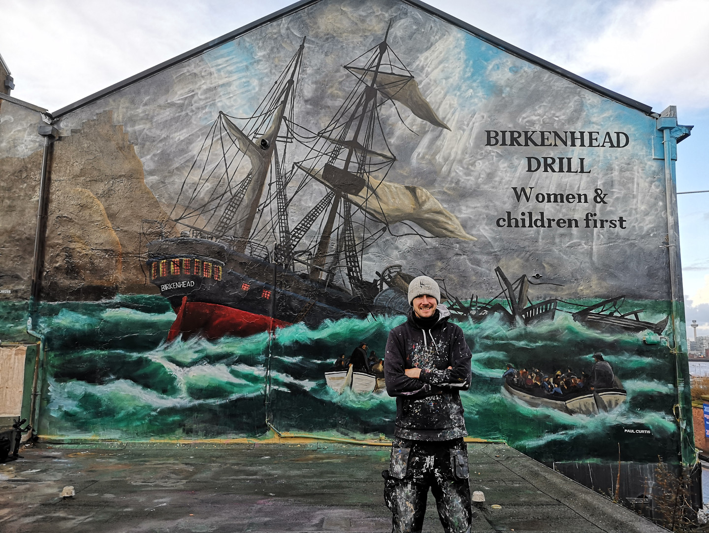 Paul Curtis with HMS Birkenhead mural