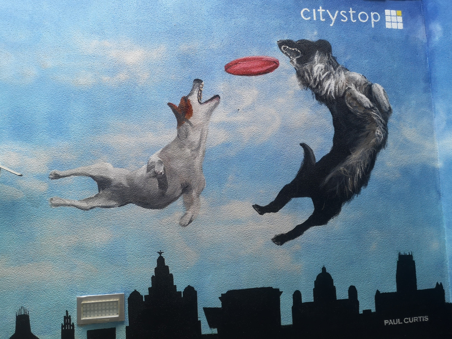 Paul Curtis two dogs mural