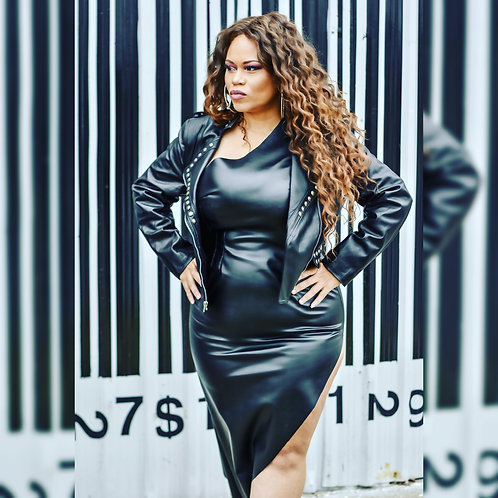 Leather high split dress