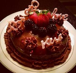 Vanilla Cake with Chocolate Pudding Covered with Chocolate Ganache