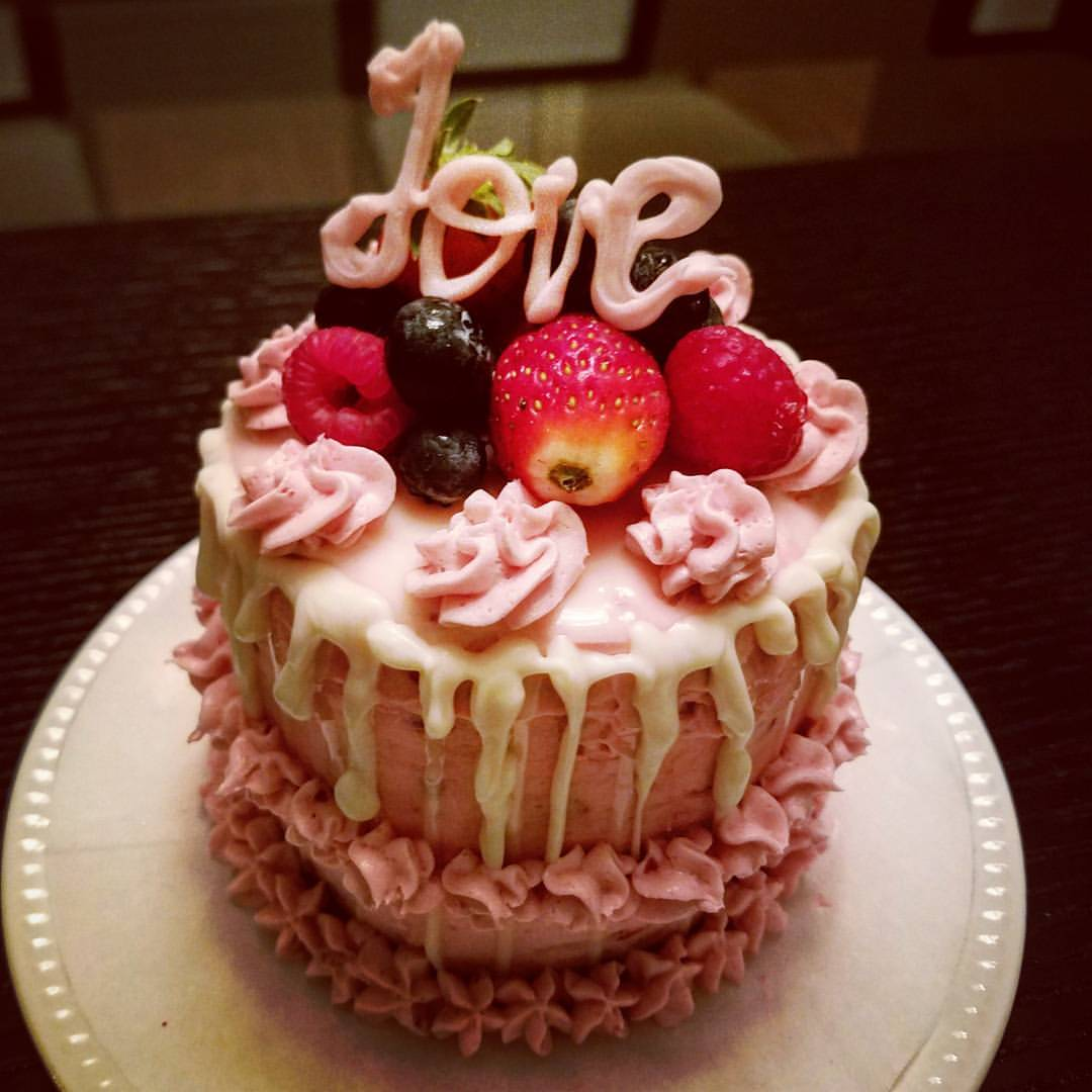 Valentine Vanilla Cake with Strawberry Frosting