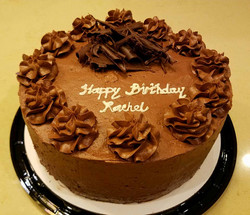 Dark Chocolate Cake with Dark Chocolate Frosting and Chocolate shaved on the top