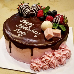Chocolate cake with strawberry frosting