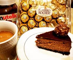 Double Nutella Cheesecake slice with Ferrero Roche