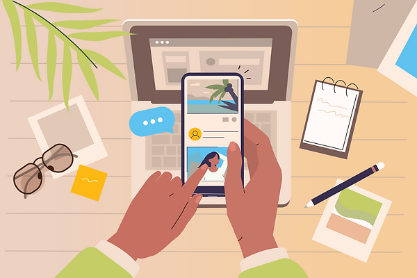 Illustration of a person scrolling social media on a phone over a cluttered desk
