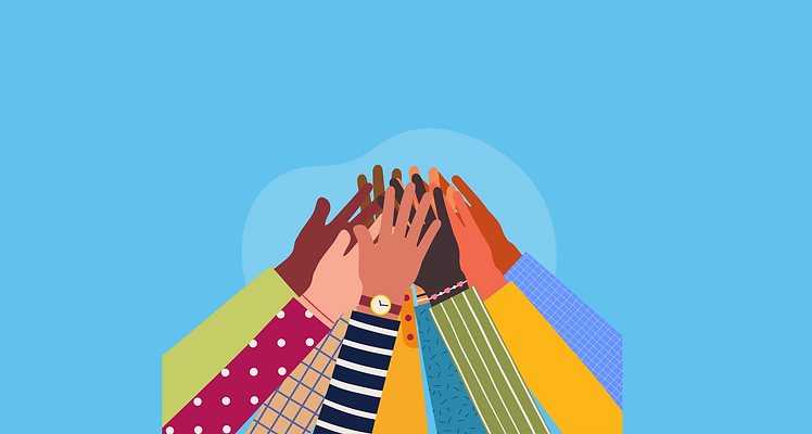 Illustrated group of hands together in the air