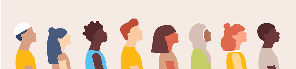 Illustration of diverse people in a line