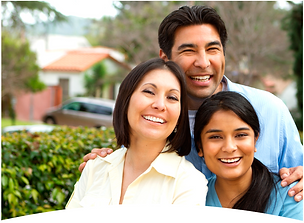 Hispanic mother, father, daughter smiling together