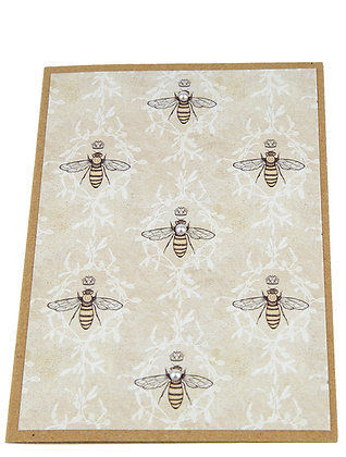 Bee Stamp Collection Card - White Foliage Pattern