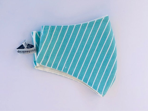 Turquoise Stripy Fabric Face Mask