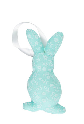 Blue Floral Hanging Bunny Fabric Decoration