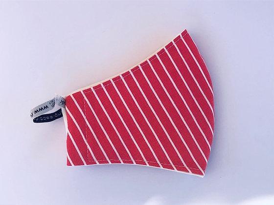 Stripy Burnt Orange / Red Fabric Face Mask