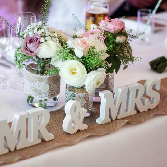 Mr & Mrs Sign & Hessian Table Runner