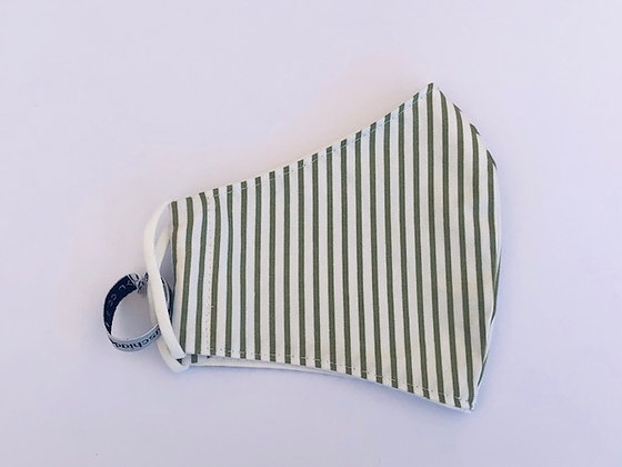 Pinstripe Khaki Fabric Face Mask