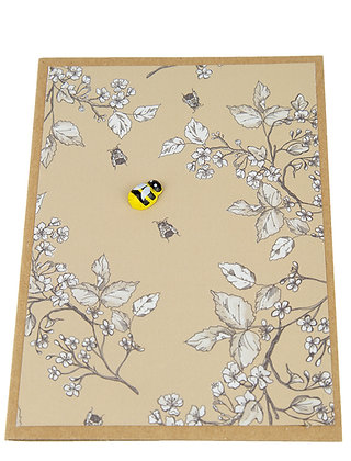 Bee Collection Card - White Leaves