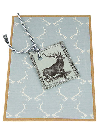 Silver Stag Card - Antlers
