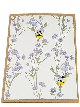 Bee Collection Card - Blue Flowers