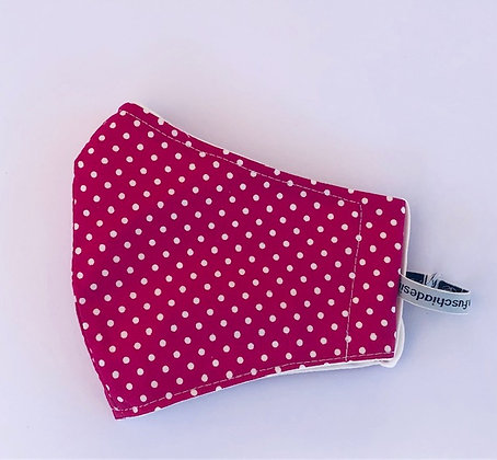 Bright Pink Polka Dot Fabric Face Mask