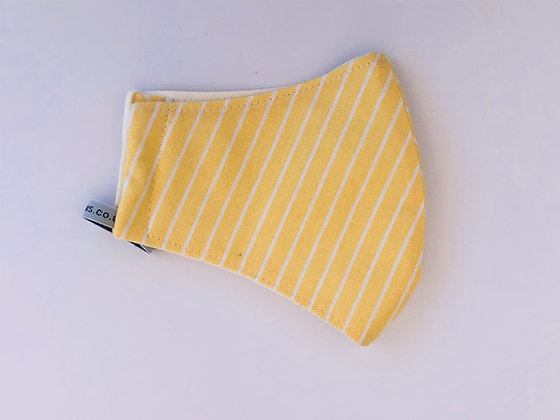 Yellow stripy Fabric Face Mask
