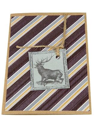 Silver Stag Card - Stripy
