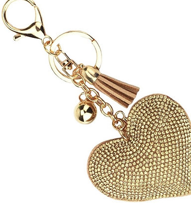 Gold Heart Diamonte Keyring