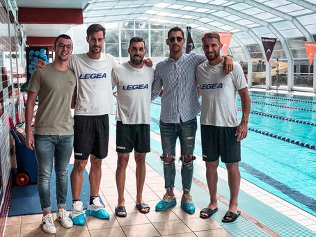 Bertoncini,Garufo e Rubin in piscina....