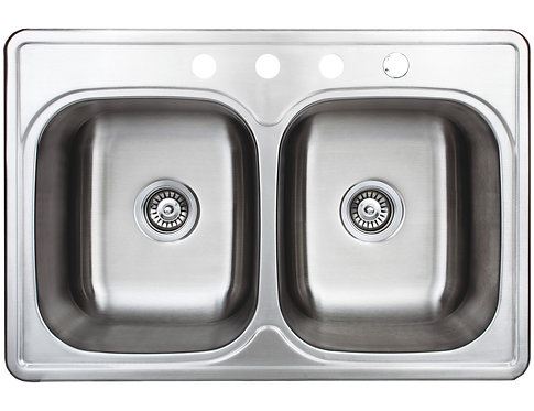 Halsted Series Top-Mount Stainless Steel 33 in. 4-Hole Double Bowl Kitchen Sink