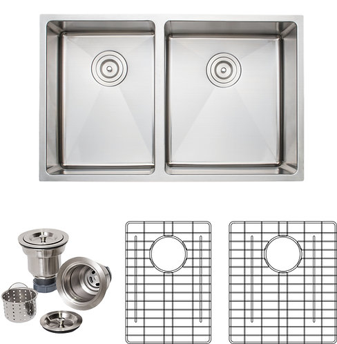 Handcrafted 30in 16gauge Undermount 4:5 Double Bowl Stainless Steel Kitchen Sink