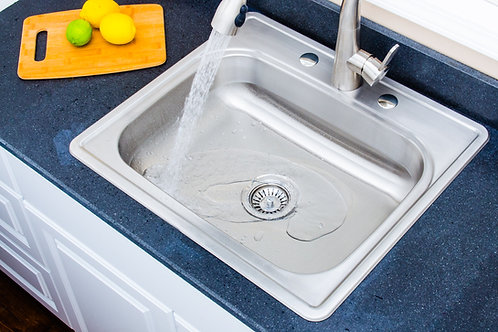 Halsted Top-Mount Stainless Steel 25 in. 3-Hole Single Bowl Kitchen Sink