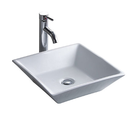 17-inch Square Vitreous Ceramic Vessel Bathroom Sink in White