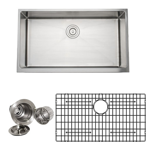 Handcrafted 33 in 16-gauge Apron Front Single Bowl Stainless Steel Kitchen Sink