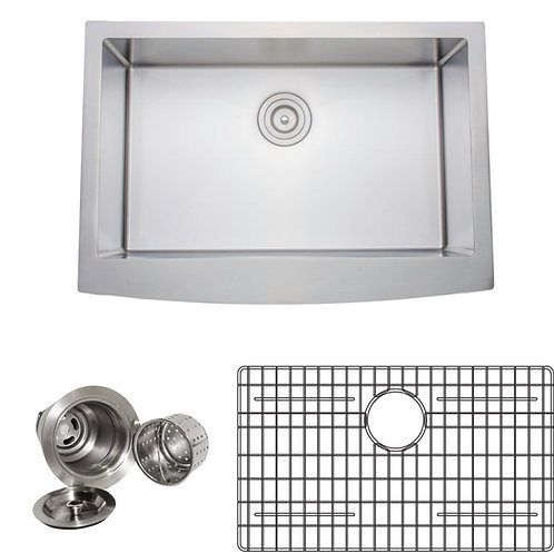 Handcrafted 30in 16-gauge Arched Apron Front Single Stainless Steel Kitchen Sink