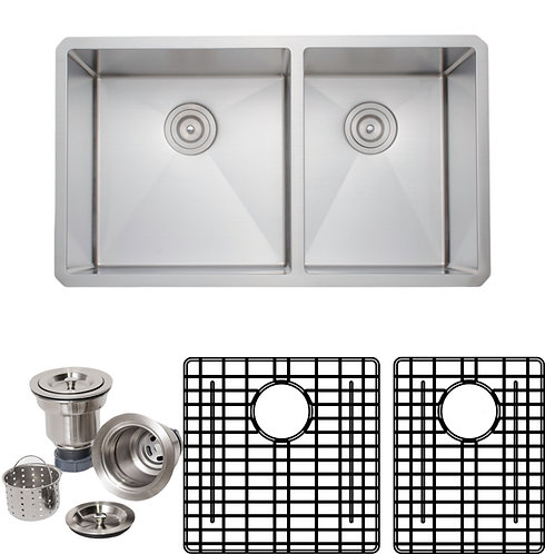 Handcrafted 33 in 16-gauge Undermount 60-40 Double Stainless Steel Kitchen Sink