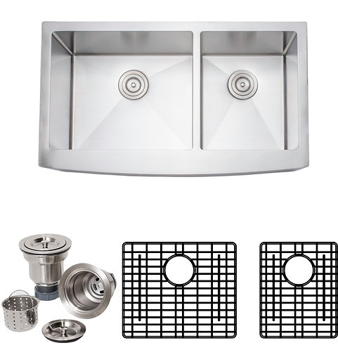 Handcrafted 36 in 16-gauge Apron Front 60-40 Double Stainless Steel Kitchen Sink