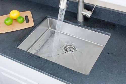 Handcrafted 23-inch 18-gauge Undermount Single ADA Stainless Steel Kitchen Sink