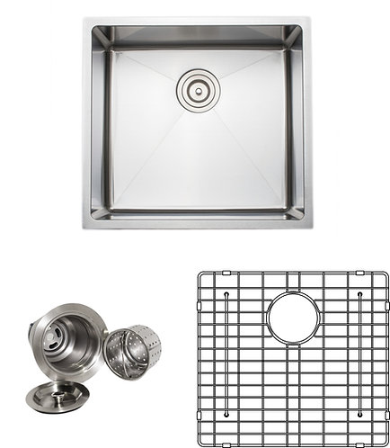 Handcrafted 21-inch 16-gauge Undermount Single Bowl Stainless Steel Kitchen Sink