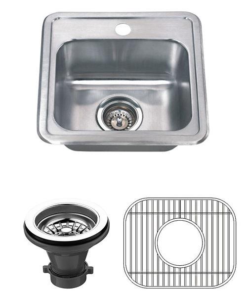 15-inch 22-gauge Drop-in Single Bowl Stainless Steel Bar Sink