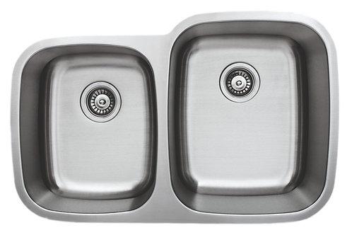 32-inch 18-gauge Undermount 40/60 Double Bowl Stainless Steel Kitchen Sink