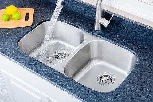 33-inch 18-gauge Undermount 50/50 Double Bowl Stainless Steel Kitchen Sink