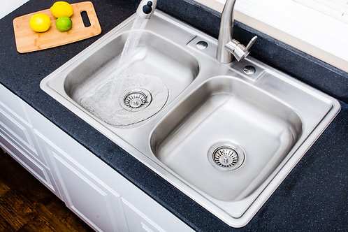 33 in 20-gauge Drop-in 3-hole 50/50 Double Bowl ADA Stainless Steel Kitchen Sink