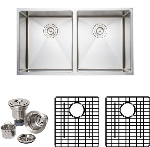 Handcrafted 33in 16gauge Undermount 50-50 Double Stainless Steel Kitchen Sink