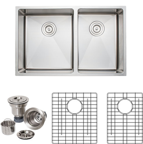 Handcrafted 30in 16gauge Undermount 5:4 Double Bowl Stainless Steel Kitchen Sink