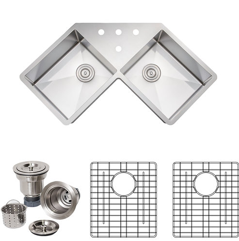 Handcrafted 46 in 16-gauge Undermount Equal Double Stainless Steel Kitchen Sink