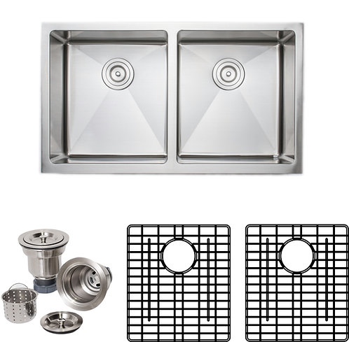 Handcrafted 33 in 16-gauge Apron Front 50-50 Double Stainless Steel Kitchen Sink