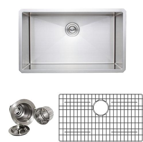 Handcrafted 30-inch 16-gauge Undermount Single Bowl Stainless Steel Kitchen Sink