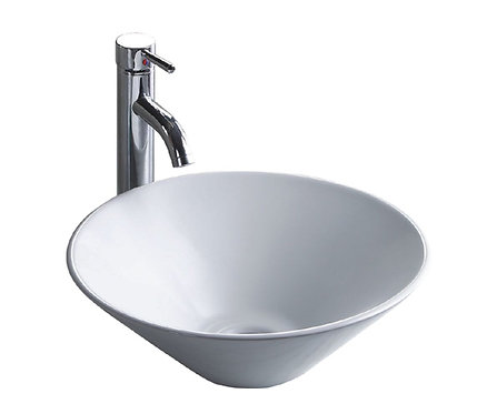 16-inch Round Vitreous Ceramic Vessel Bathroom Sink in White