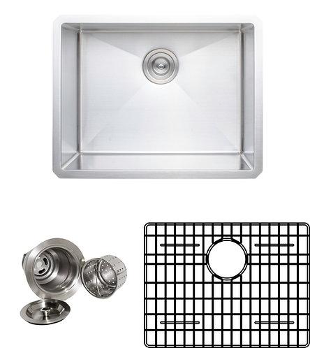 Handcrafted 23-inch 16-gauge Undermount Single Bowl Stainless Steel Kitchen Sink