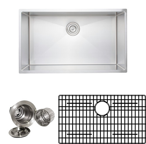 Handcrafted 32-inch 16-gauge Undermount Single Bowl Stainless Steel Kitchen Sink