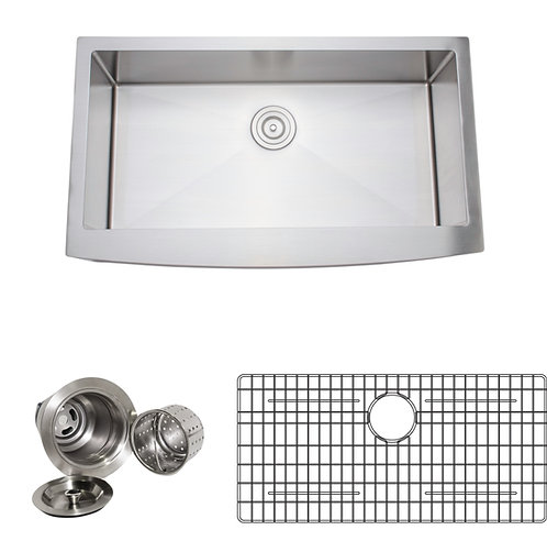 Handcrafted 36in 16-gauge Arched Apron Front Single Stainless Steel Kitchen Sink
